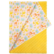 White Baby Blanket - Giraffe, Elephant and Chick Animals with Plain Yellow Textured Underside. Size