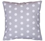 Amilian® Handcrafted Decorative Polka-Dot Print Grey 100% Cotton Premium Quality Durable Throw Cushion Cover Pillowcase Only 40 cm x 40 cm