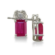 1ct Ruby and Diamond Earrings in 10k White Gold