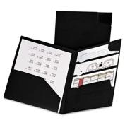 Divide It Up Four-Pocket Poly Folder, 11 x 8-1/2, Black, Sold as 1 Each