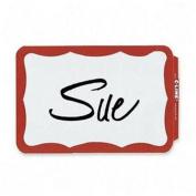Self-Adhesive Name Badges, 3-1/2 x 2-1/4, Red, 100/Box