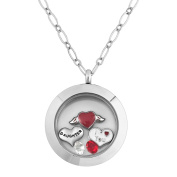 DAUGHTER Living Locket Necklace With Crystal Floating Charms 46cm Chain Gift