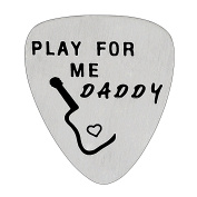 Play For Me Daddy Guitar Pick Father Gifts for Dad Papa from Daughter Son Stainless Steel Pendant for Men
