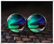 Northern lights cufflinks, Northern lights gift, Aurora Borealis cufflinks