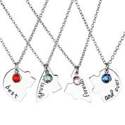 JOVIVI 4pc/set Silver Tone Best Friend Forever and Ever Heart Shape Puzzle BBF Friendship Pendant Necklace Jewellery Set