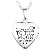 "IXIQI Jewellery Locket Engraved "" I Love You to the Moon and Back "" Titanium Heart Infinity Love Locket Necklace Necklaces Gifts Present for Women Photo,45cm Chain"