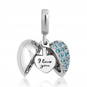 Uniqueen Jewellery I Love You Heart Charms Dangle Bead For Bracelet