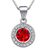 """J.SHINE 925 Sterling Silver Necklace Women with 3A 6mm Cubic Zirconia Round Button Pendant Italy 18"""" Chain 8 Colour"""