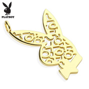 Playboy Logo XOXO Gold IP 316L Surgical Steel Bunny Pendant Dimension