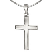 CLEVER SCHMUCK- Jewellery Set Silver Pendant Crucifix 21 mm Slim with a Curb Chain 42 cm 925 Sterling Silver with Case Red