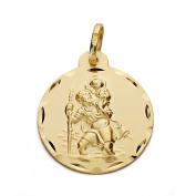 18k gold St. Christopher medal 22mm. [AA0573]