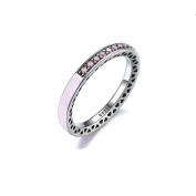 925 Sterling Silver Pink Radiant Hearts Ring