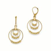 Leslies 14k Diamond-Cut Round Beaded Leverback Earrings