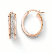 Leslies 14k and Rose Gold Fancy Glimmer Infused Hoop Earrings