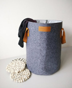 DANHA Large Modern Grey Felt Laundry Basket with Leather Handles