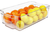 Greenco Stackable Refrigerator and Freezer Wide Storage Bin With Handles, 38cm x 21cm x 9.5cm , Clear