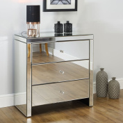 Mirrored Bedroom Furniture, Happy Beds Seville Silver 3 Drawer Chest - Height 82 cm, Width 80 cm, Depth 40 cm