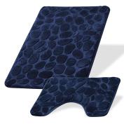 Evelyn Living Navy Luxury Pebbles Memory Foam Bath & Pedestal Mat Sets Non Slip Soft Bathroom Rugs