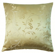 "ROME WOVEN THICK FLORAL FLOWER LEAF SOFT CREAM CUSHION COVER 18"" - 45CM"