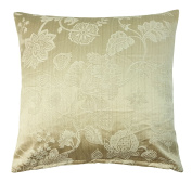 "QUINCE WOVEN THICK FLORAL STRIPE SOFT CREAM BEIGE CUSHION COVER 18"" - 45CM"