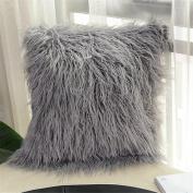 GWELL Throw Cushion Cover Decorative Pillowcase Plush Faux Fur Square Cushion Cover 45CM * 45CM Grey