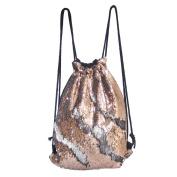 DrCosy Mermaid Sequin Bag Drawstring Sequins Backpack Glitter Mermaid Backpacks Magic Dance Bags for Kids Adults