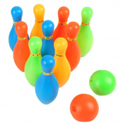 Sharplace Kids Children Bowling Set Including 10 Pins 2 Bowling Balls Indoor Sport Interaction Skittles Game Toys