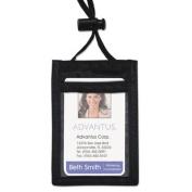 Advantus ID Badge Holder w/Convention Neck Pouch, Vertical, 2 3/4 x 3 1/2, Black, 12/Pack