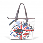 BENNIGIRY Women's Large Handbags Tote Bags London Eye Patern Leather Top Handle Shoulder Bags
