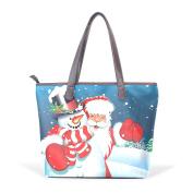 BENNIGIRY Women's Large Handbags Tote Bags Santa And Snowman Patern Leather Top Handle Shoulder Bags