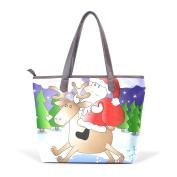 BENNIGIRY Women's Large Handbags Tote Bags Santa Deer Patern Leather Top Handle Shoulder Bags