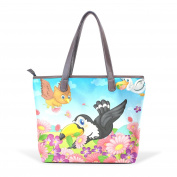 BENNIGIRY Women Leather Tote Top Handle Tote Shoulder Bags Handbags Floral Animal Owl for Girls Ladies