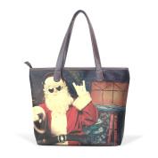 BENNIGIRY Winter Holiday Chriestmas Santa Claus Leather Tote Bag Handbag Shoulder Bag for Women Girls