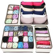Greenco Collapsible Underwear Drawer Divider Closet Organiser - Set 4, Beige