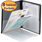 Smead Organised Up Multi Pocket Organiser, Eight Pockets, Letter Size, Black,
