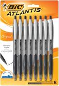 BIC Atlantis Original Retractable Ball Pen, Black, 8 Pack