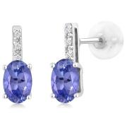 14K White Gold Oval Blue Tanzanite Stud Diamond Women's Stud Earrings 0.93 Cttw 6X4mm Oval