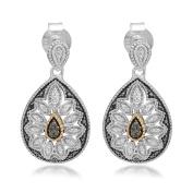 Marabela Sterling Silver and 14k Gold Black Diamond Earrings
