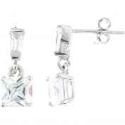 Plutus Sterling Silver Platinum-Finish Princess Fashion Earrings