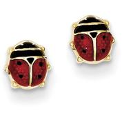 14k Enamelled Ladybug Earrings