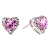 1.10 cttw Heart Pink Sapphire Diamond Accent Sterling Silver Stud Earrings