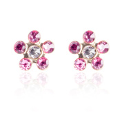 10k Yellow Gold Stud Earring Flower Shape with Coloured Crystals Screw Backing, 5mm Diameter