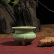 Retro incense burner,Ceramic creative incense thurible for home use or yoga room decor incense ash catcher tray bowl-B