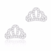 18k White Gold Plated Cubic Zirconia Crown Stud Earrings