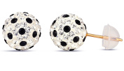 14k Yellow Gold 6mm Disco Ball Stud Earrings with Crystal Elements, Choice of Colour