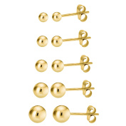 14K Gold over 925 Silver High Polish Smooth Round Ball Stud Earring 5-Size Set - 2mm, 3mm, 4mm, 5mm, 6mm