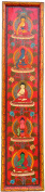 Monastery Thangka Pancha Buddha Wooden Vertical Hand Painted Antique Style 90 cm x 20 cm