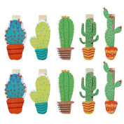 BESTOYARD Cute Cactus Wooden Photo Clips Note Memo Card Holder for Summer Luau Party Favour Pack 10pcs