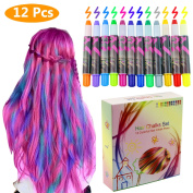 Philonext Hair Chalks Set - 12 Colourful Professional Waxy Hair Chalk Pens Non-Toxic Metallic Glitter Temporary Hair Colour, No Mess, Works on All Hair Colours