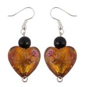 Lady Glass Flower Pattern Heart Shaped Jewellery Dangle Earrings Dark Yellow Pair